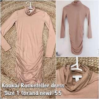 Kookai Rockefeller Dress In Nude Size 1
