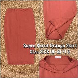 Supre Burnt Orange Skirt XXS (6-8)