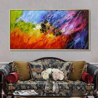 Wavy Colorful Abstracts Handpainted Canvas Oil Painting
