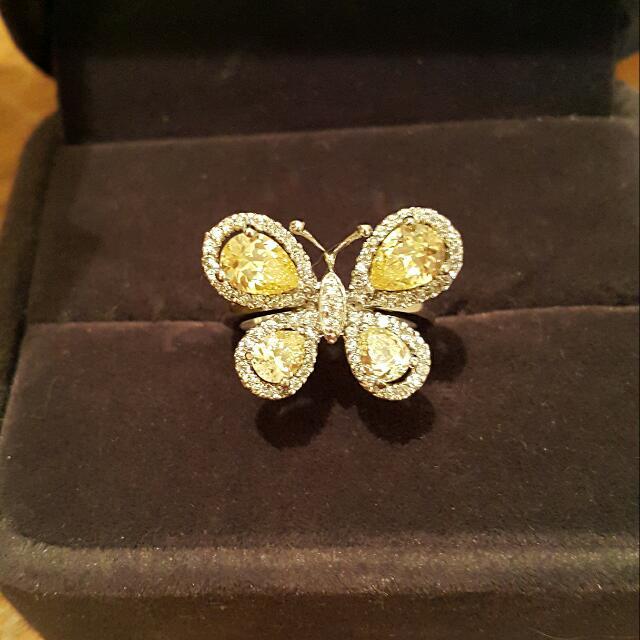 蝴蝶飛1-黃水晶戒指