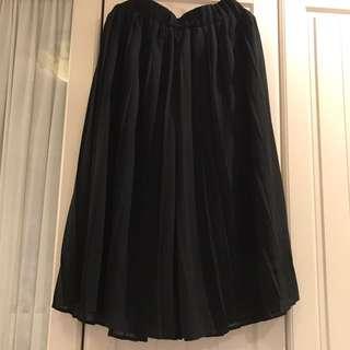 雪紡百褶八分闊腿褲裙