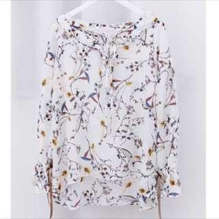 雪紡花朵綁帶上衣 白色 #兩百元雪紡