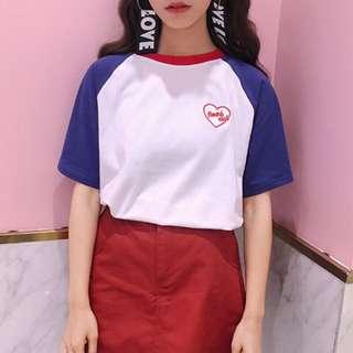 韓 愛心俱樂部滾邊撞色短袖圓領T-shirt Tee