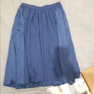 Zara Blue Satin Medium Skirt