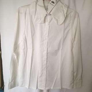 荷葉領白襯衫 (全新含吊牌) #一百元上衣