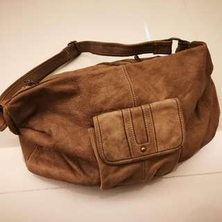 Initial washed leather Bag
