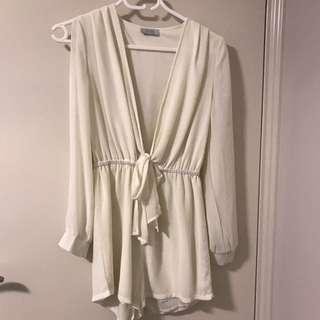 Tobi Cream Long Sleeved Playsuit