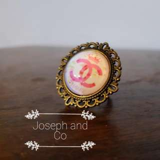 JAC Bronze Filigree Ring With Chanel Cabachon Adjustable