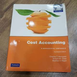 Textbook: Cost Accounting: A Managerial Emphasis (14th Ed). By Horngren, Datar & Rajan.