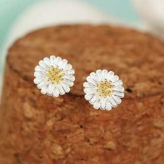 超美925純銀小雛菊耳環