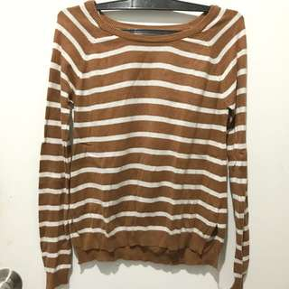 F21 Stripes Sweater Brown S