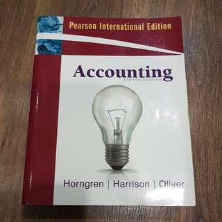 Textbook: Accounting (8th Ed). By Horngren, Harrison & Oliver