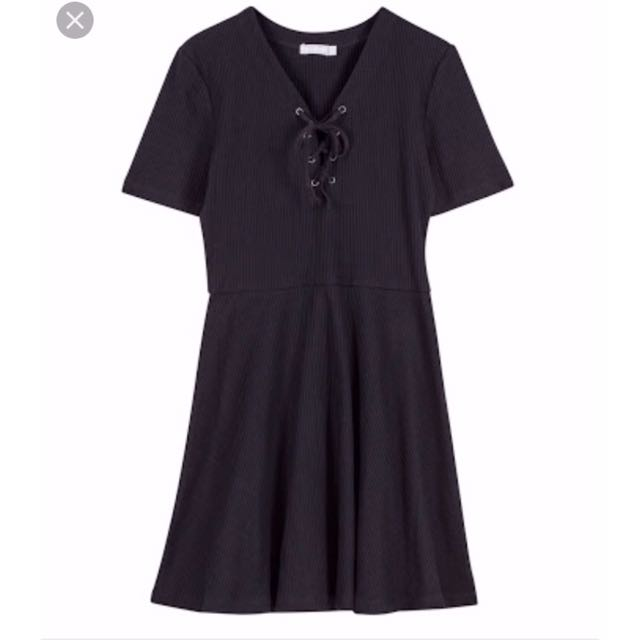 6ixty8ighty Lace Up Robbed Knot Skater Dress