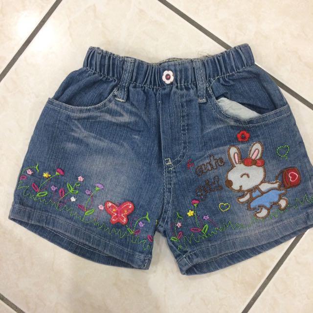女童-7號可愛小兔牛仔鬆緊褲頭-短褲