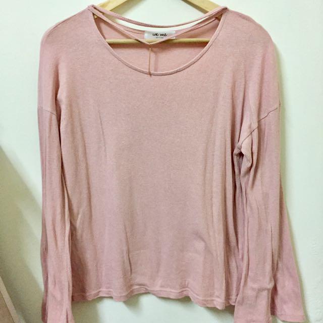🇰🇷正韓粉色棉質寬袖上衣