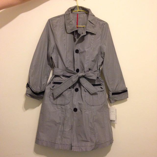日本細格子防風風衣外套(全新含吊牌)