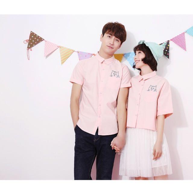 韓版設計情侶衣情侶裝貓咪刺繡短袖襯衫