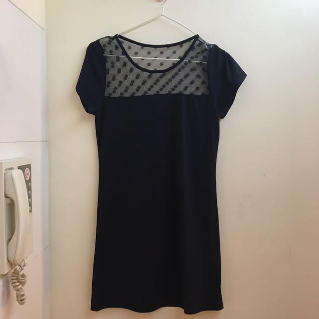 深藍色網紗洋裝