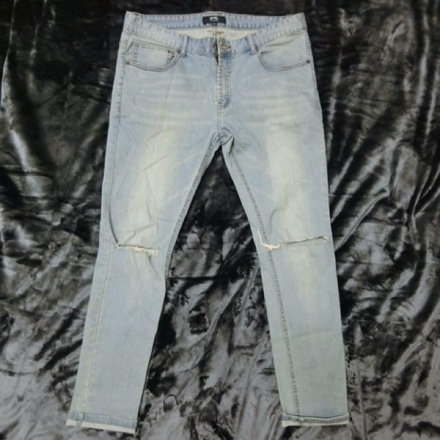 藍色牛仔長褲 窄管