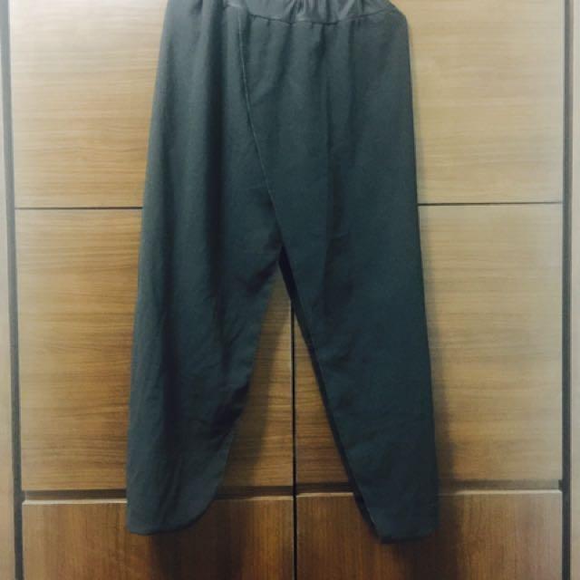 黑絲下縮口 黑色長褲