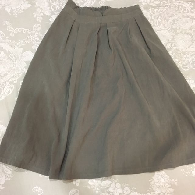 灰綠 口袋 中長裙