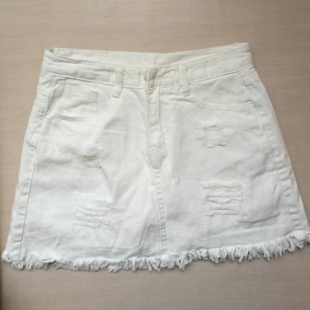 白色刷破牛仔褲裙 短裙 防走光