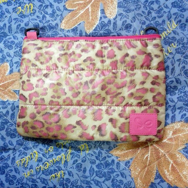喜舖 cipu 焦糖粉紅豹,萬用雙層包,斜背包