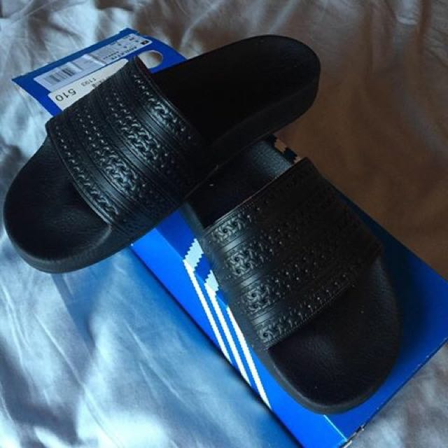 All Black Adilette Adidas Slides