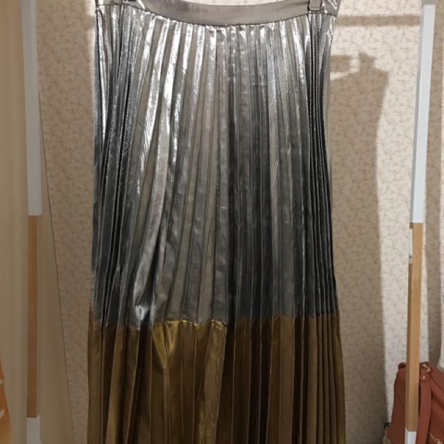 ASOS Metallic Pleat Party Skirt