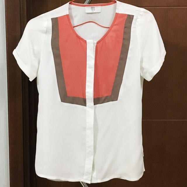 BAYO Orange White Short Sleeves Shirt