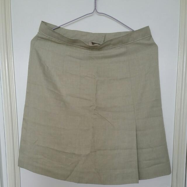 Beige A line Office Skirt