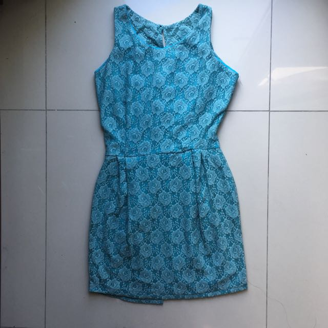 Blue Flower Lace Patterned Dress