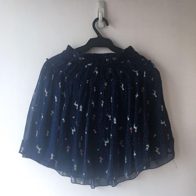Blue Pleated Skirt Chiffon Fabric