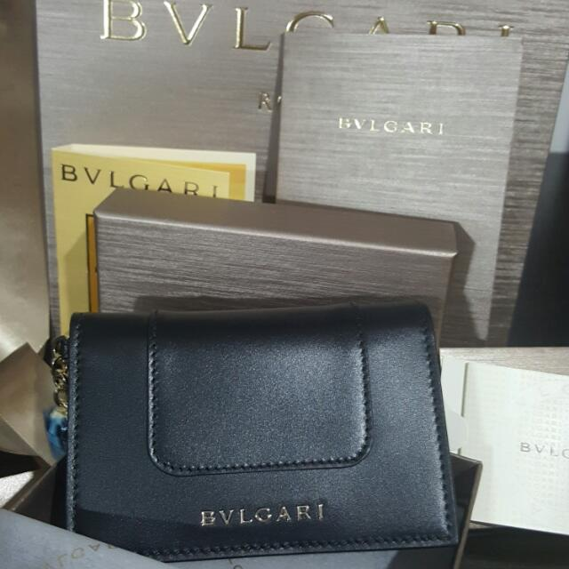 Brand New Authentic Bvlgari Black Credit Card Holder Woth Green Interior