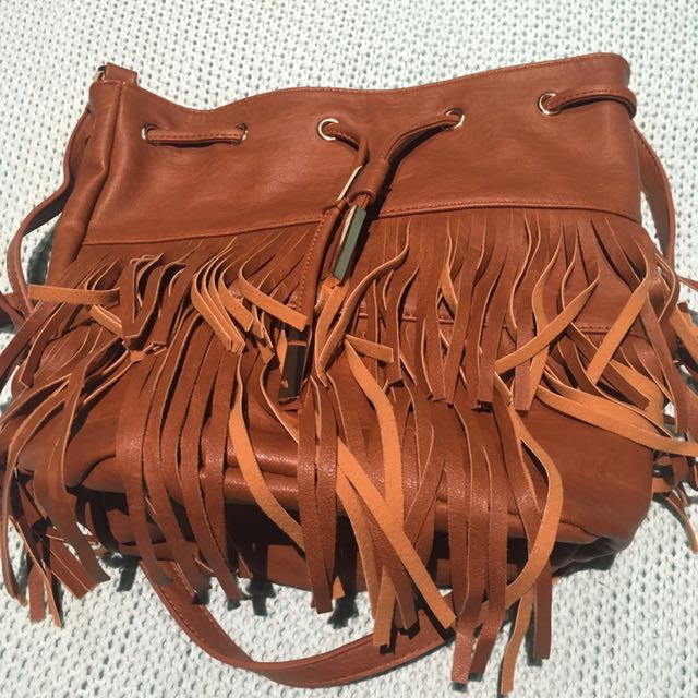 Brown Bucket Tassel Bag Colette