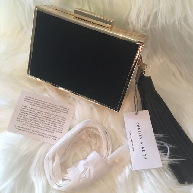 Charles & Keith Black Clutch/Chain Bag