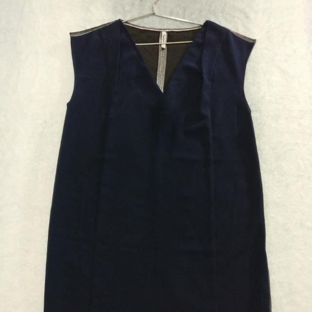 Simple yet classy navy and silver sleeveless dress