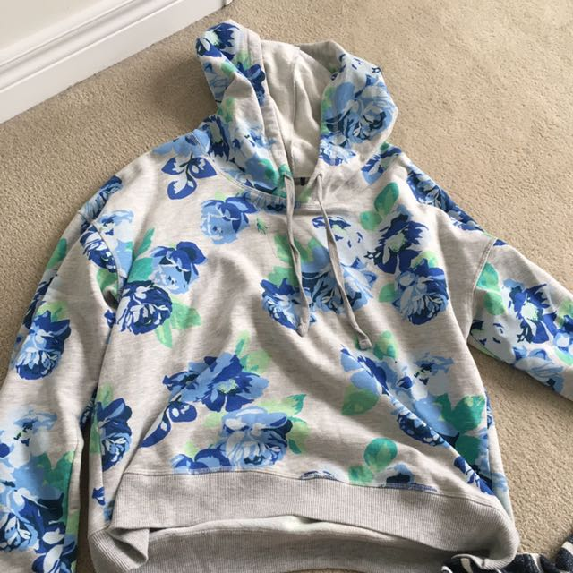 Cropped Oversized floral Hoodie