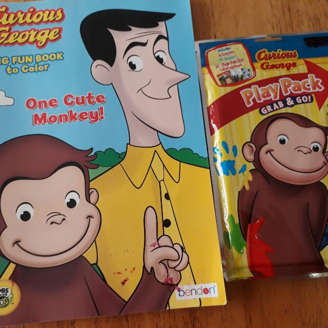 Curious George Play Pack And Colouring Book, Hobbies & Toys, Books &  Magazines, Children's Books On Carousell