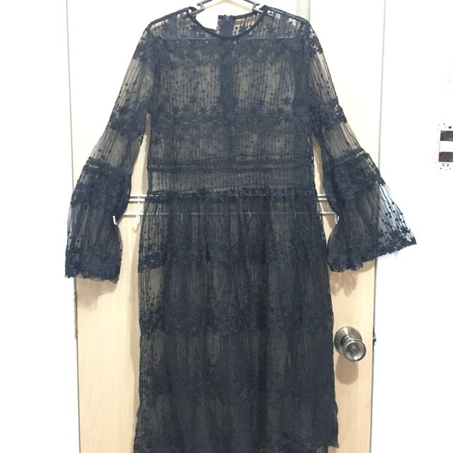 Designer Inspired Black Lace Dress