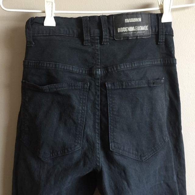 Dr Denim Black Skinny Jeans High Waisted Size 10