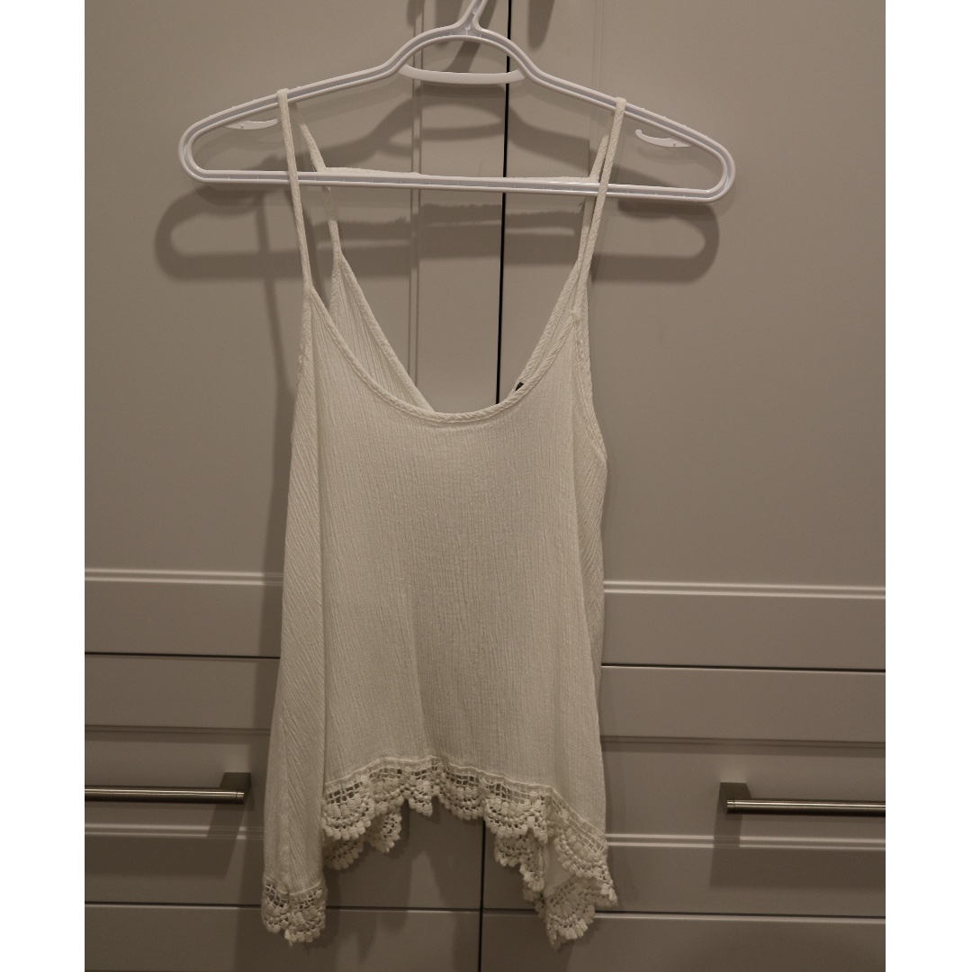 Embroidery white tank