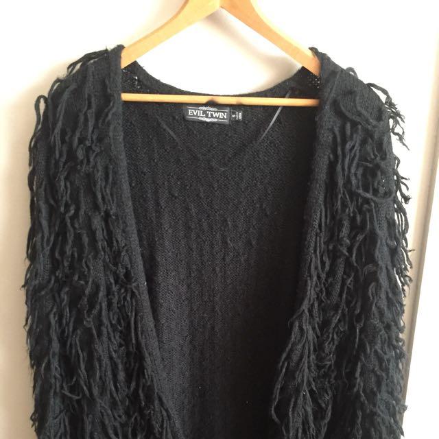 Evil Twin Wooly Black Cardigan Knit