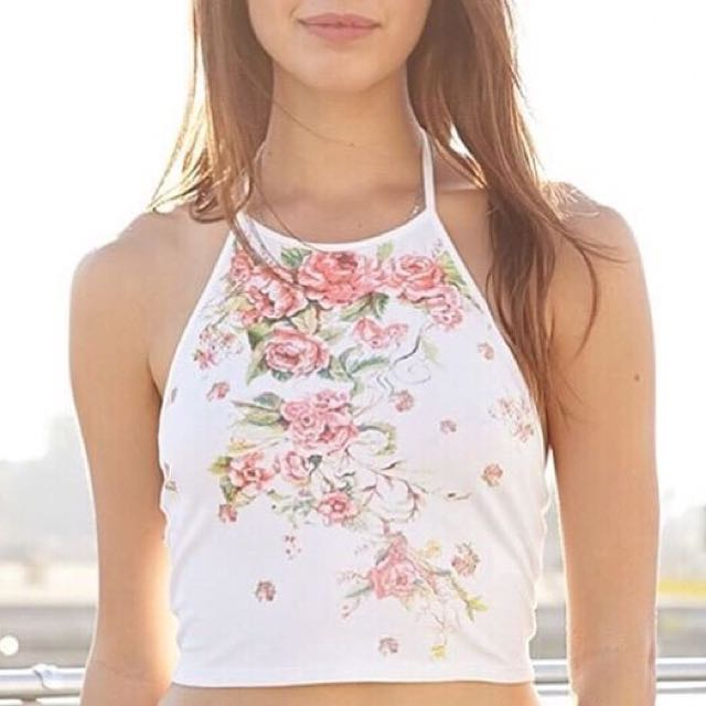 Forever 21 // Floral Crop Top Tank Top