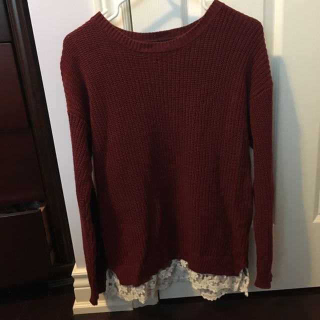 Forever 21 Maroon Lace-trim Sweater