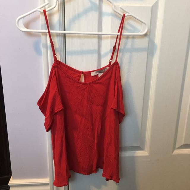 Forever 21 Red Off-Shoulder Shirt