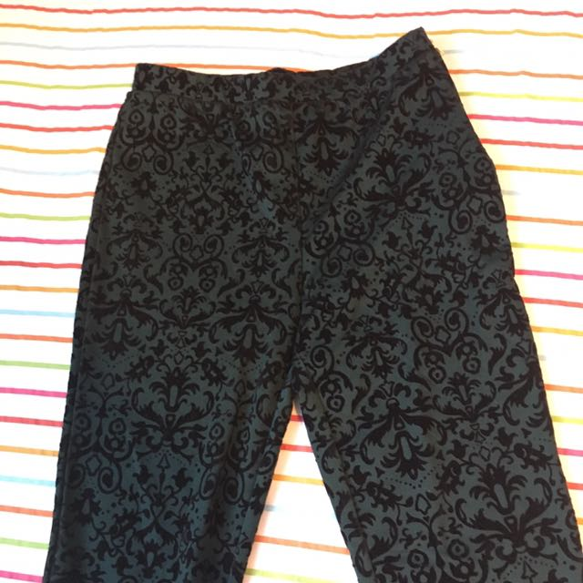 Forever 21 Velvet Ornate Leggings
