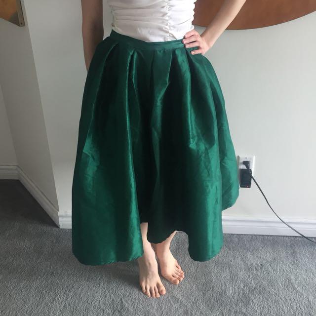 Gorgeous Emerald Midi Skirt