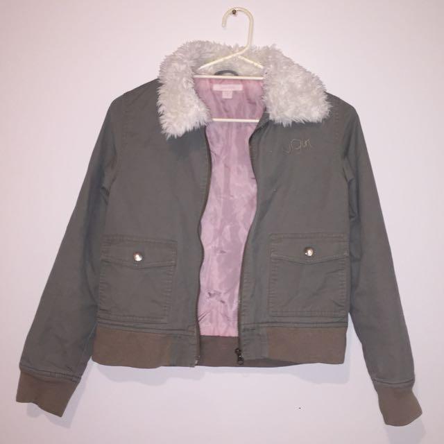 Green Furry Collar Jackets