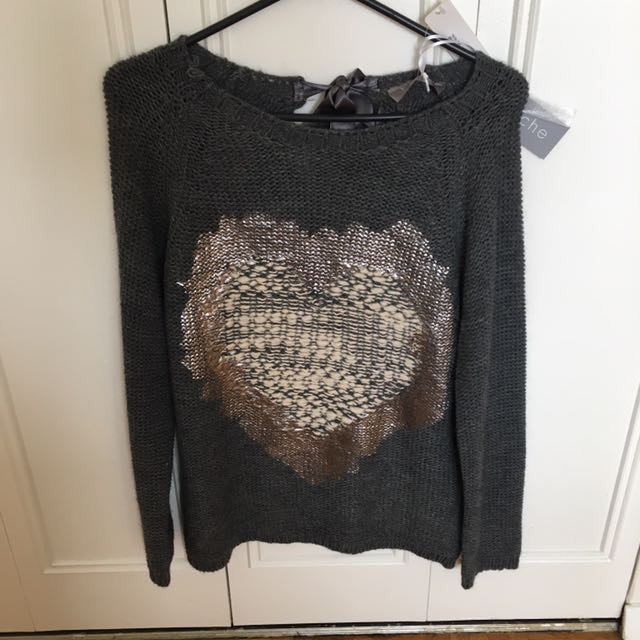 Grey Heart Sweater With Bow Detail